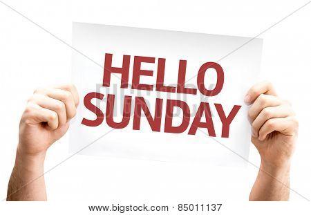 Hello Sunday card isolated on white background