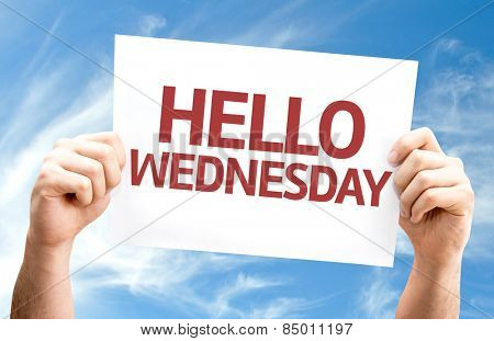 Hello Wednesday card with sky background