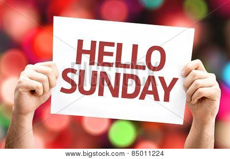 Hello Sunday card with colorful background with defocused lights