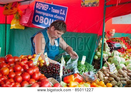 The Saleswoman Selling Fruit In Vegetable Fair