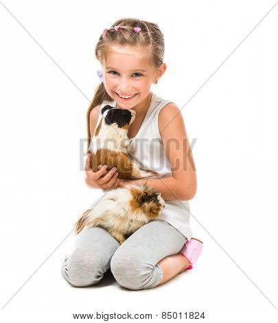 happy cute girl with a cavy. studio shot isolated on white background