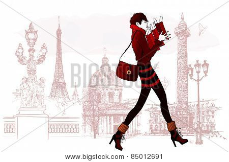 Woman shopping in Paris - Vector illustration