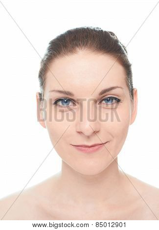 Young caucasian woman portrait isolated