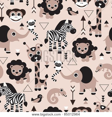 Seamless geometric kids jungle animals lion elephant giraffe zebra lizard and birds gender neutral beige illustration background pattern in vector