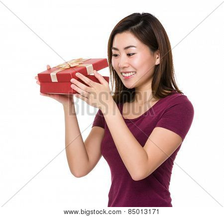 Asian woman open with giftbox