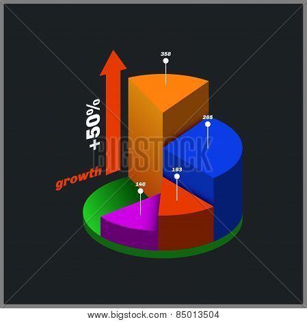 Color Round Isometric Diagram, Info Graphic.