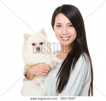 Asian woman with her puppy