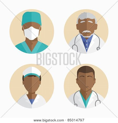 Illustration Of Flat Design. African American People Icons Collection. Doctor And Nurse