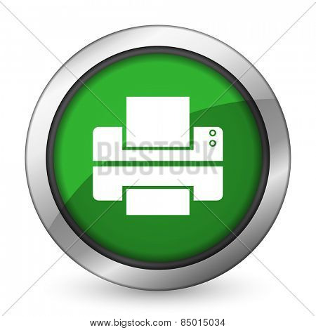 printer green icon print sign