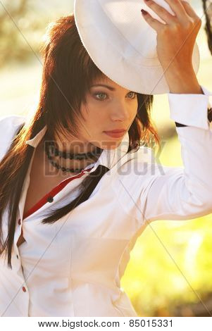 Beautiful Girl In The White Hat