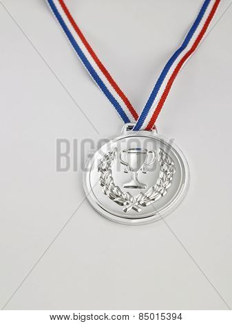 silver medal on the white background