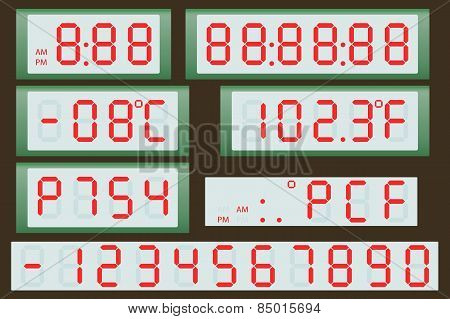 Electronic scoreboard clock and thermometer.