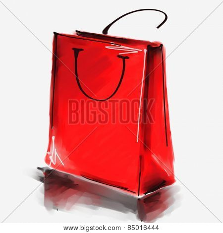 art digital acrylic painted one red shopping bag isolated on white background