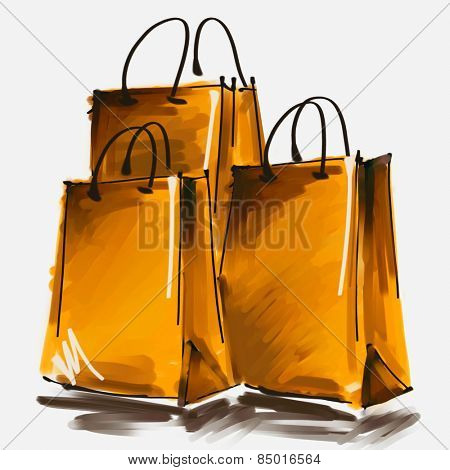 art digital acrylic painted three gold shopping bags isolated on white background