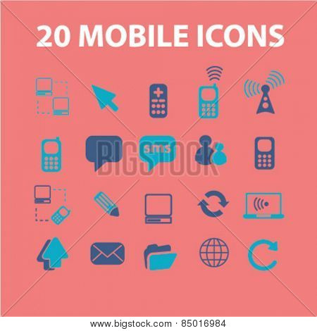 20 mobile, smartphone, phone, communication isolated icons, signs, mobile mobile, smartphone illustrations concept design set on background for website, internet, template, application, advertising.