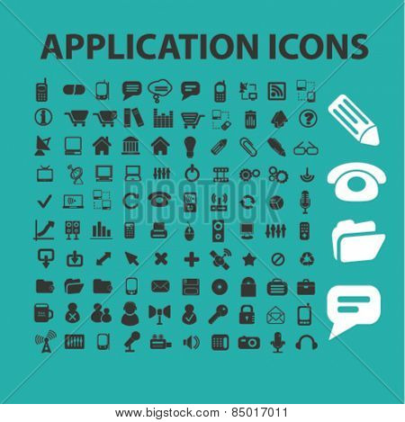 application, mobile, interface, software isolated icons, signs, silhouettes, illustrations,  set, vector