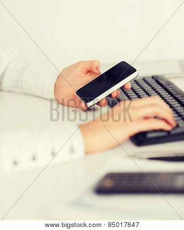 business, office, work discipline issues, school and education concept - woman hand with smartphone