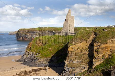 View Of The  Ballybunion Castle Beach And Cliffs