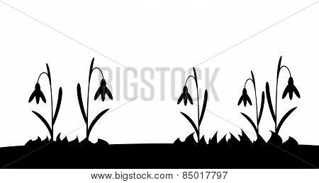 Seamless silhouette grass and flowers.