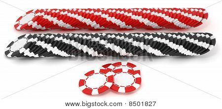 Black And Red Roulette Chip Rows
