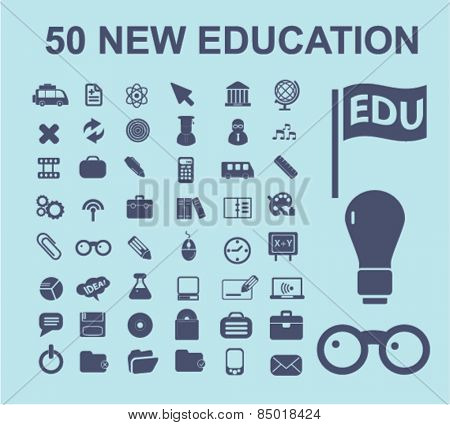 50 educaiton, study, lesson isolated icons, signs, illustrations concept design set on background for mobile application, website, adverisement, vector