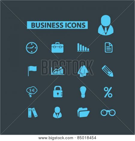 business, management, presentation, bank, finance isolated icons, signs, illustrations concept design set on background for mobile application, website, adverisement, vector