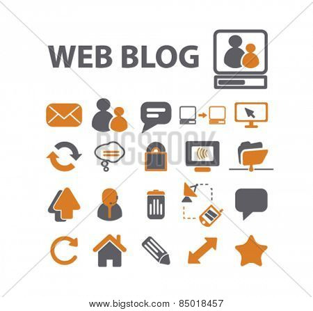 web blog, community, internet isolated icons, signs, silhouettes, illustrations,  set, vector