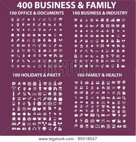 400 business, family, holidays, medicine, health, industry, travel, office, document, party, mobile, smartphone isolated icons, signs, silhouettes, illustrations concept set, vector
