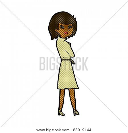 retro comic book style cartoon woman in trench coat