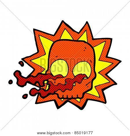 retro comic book style cartoon halloween skull symbol