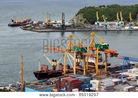 Ships At The Pier, Port Cranes On Seaport Petropavlovsk-kamchatsky. Russia, Kamchatka, Avacha Bay