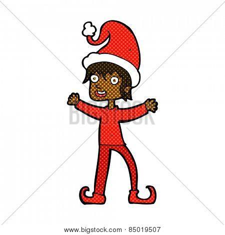 retro comic book style cartoon excited christmas elf