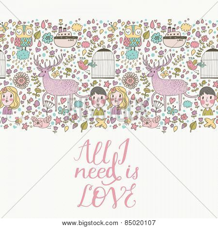 All I need is love - stylish romantic card made of flowers, couple of lover, ship, owl, deer, birds, stars and hearts in bright colors in vector. Awesome concept background for romantic design