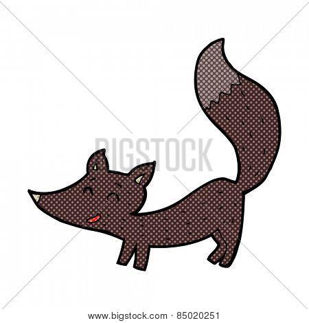 retro comic book style cartoon little wolf cub