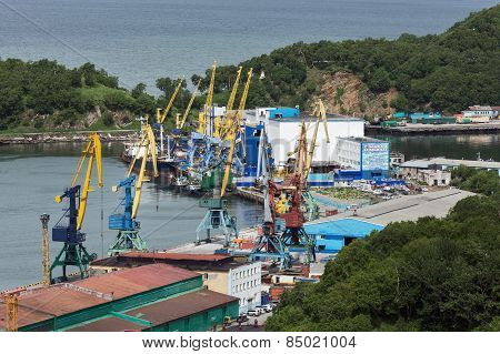 Port Cranes, Cargo Terminal On Commercial Seaport Petropavlovsk-kamchatsky. Russia, Kamchatka, Avach