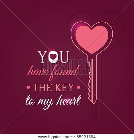 Happy Valentines Day Card With Key