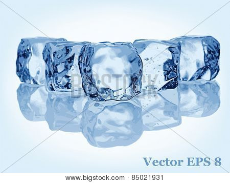 Stack of Ice cubes, vector EPS 8