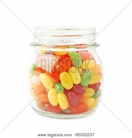 Jar full of jelly bean candies isolated