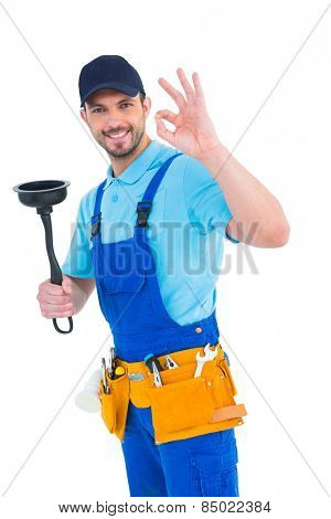 Plumber with plunger gesturing okay on white background
