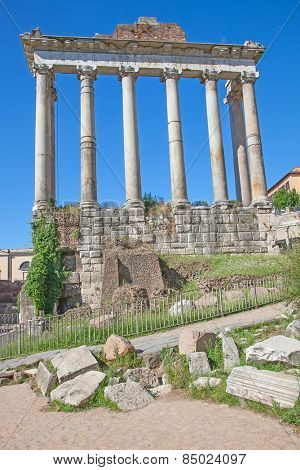 Ruins of the forum in Rome, Italy