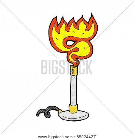 retro comic book style cartoon bunsen burner