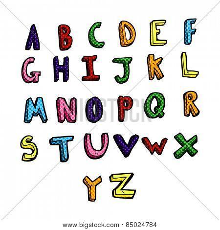 retro comic book style cartoon alphabet
