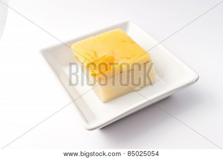 Coconut Custard Made From Eggs And Coconut Milk,  In White Bowl On White Background