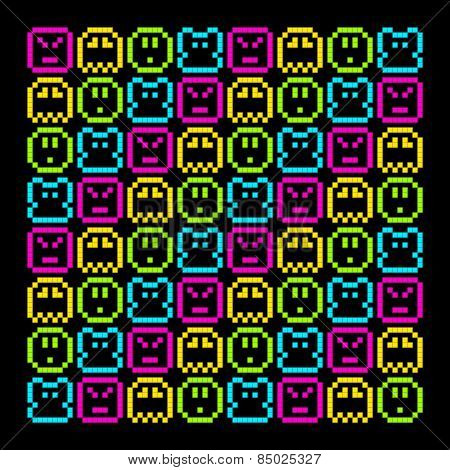 8-bit Pixel Retro Arcade Pattern. Eps8 Vector