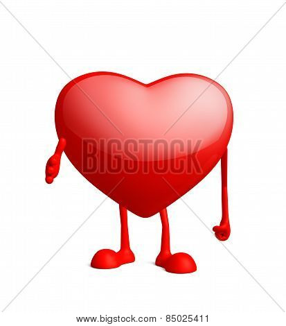 Heart Character With Shakehand Pose