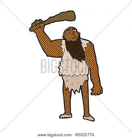 retro comic book style cartoon neanderthal