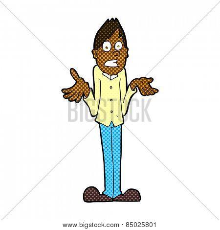 retro comic book style cartoon man shrugging shoulders