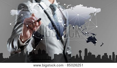 Businessman Woking With Globalization Marketing Concept