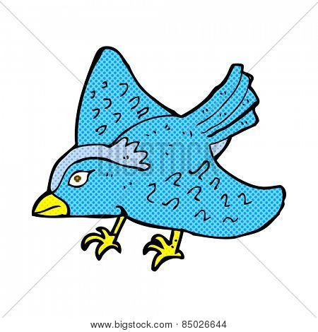 retro comic book style cartoon garden bird