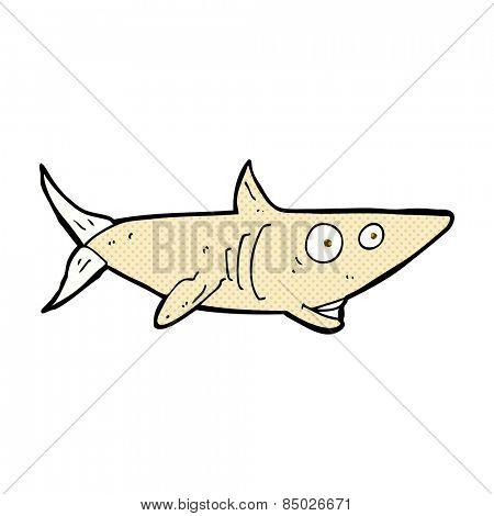 retro comic book style cartoon happy shark